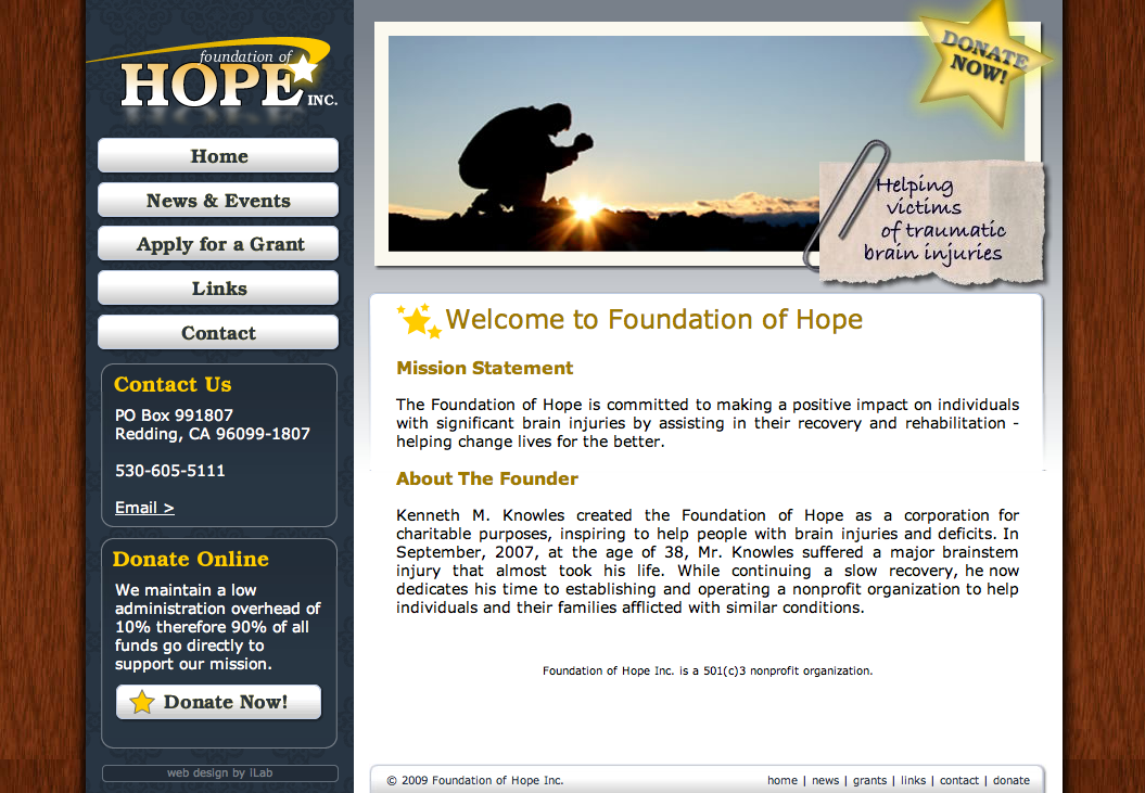 Foundation of Hope Web Design