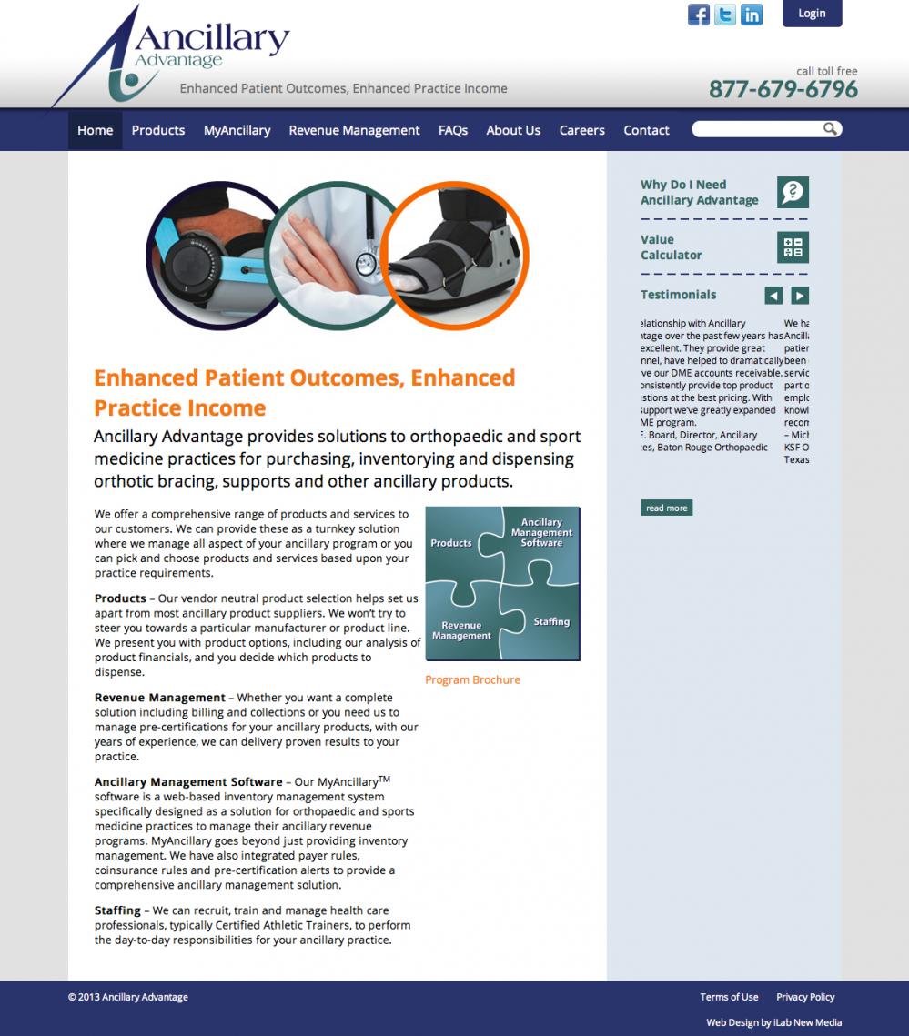 Ancillary Advantage Website Redesign