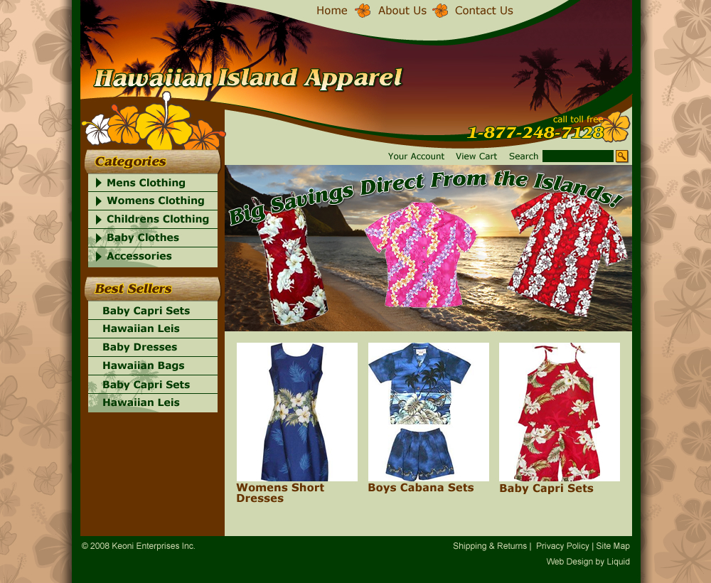 Hawaiian Island Apparel Web Design