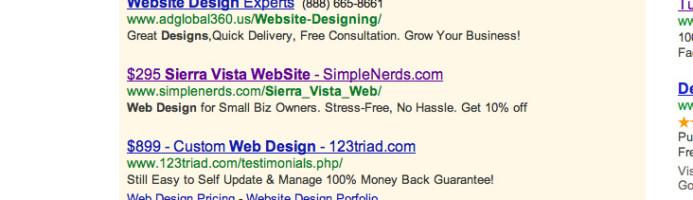 Sierra Vista web design SERPS