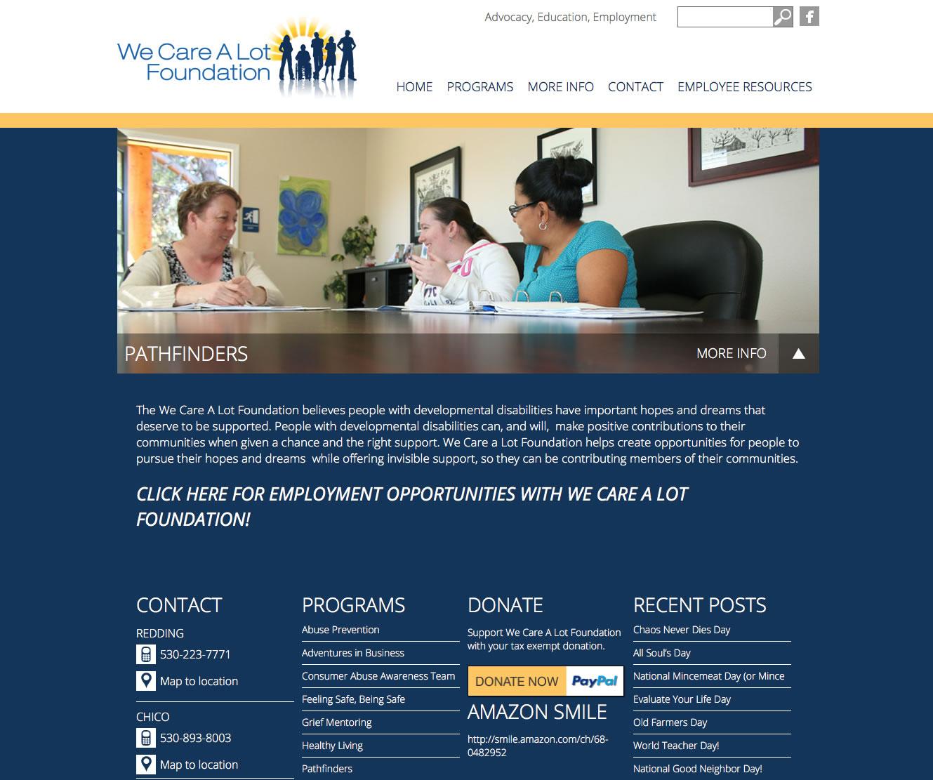 We Care A Lot Foundation website design