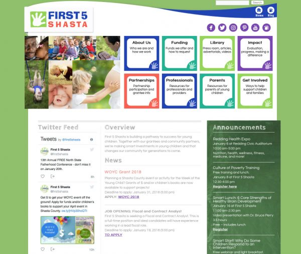 web design for first 5 shasta